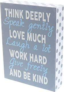 Barnyard Designs Think Deeply Speak Gently Love Much Box Wall Art Sign, Primitive Country Farmhouse Home Decor Sign with Sayings 8