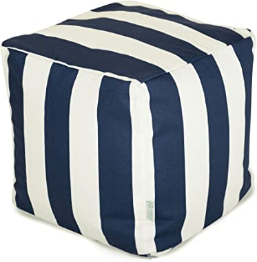 "Majestic Home Goods Navy Blue Vertical Stripe Indoor / Outdoor Bean Bag Ottoman Pouf Cube 17"" L x 17"" W x 17"" H"