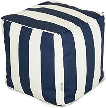 Majestic Home Goods Navy Blue Vertical Stripe Indoor / Outdoor Bean Bag Ottoman Pouf Cube 17