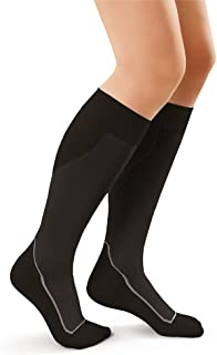 JOBST Sport Knee High 15-20 mmHg Compression Socks, Black/Cool Black, X-Large