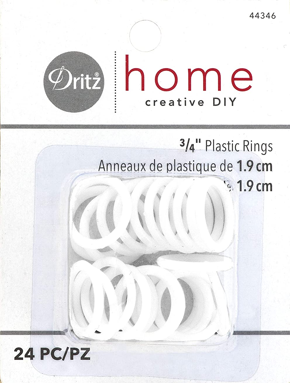 Dritz Home 44346 Plastic Rings, 3/4-Inch, White (24-Piece)