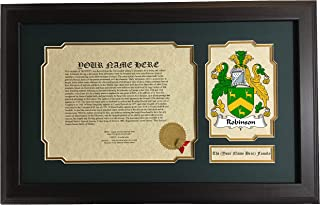 Robinson - Coat of Arms and Last Name History, 14x22 Inches Matted and Framed