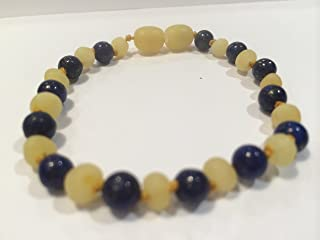 ADHD Raw Milk Unpolished Baltic Amber Bracelet 8 Inch with Lapis Lazuli for Adults or big kids 8