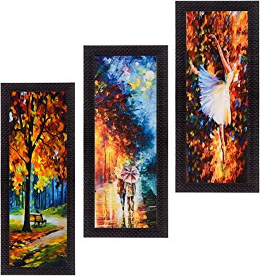 eCraftIndia 'Couple Love Moments' UV Art Painting (Synthetic Wood, 53 cm x 41 cm, Set of 3, Satin Matt Texture, C3FPB2226_A)