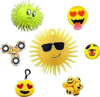 RELAX RE Ultimate Emoji Bundle (7 items: 2 Light Up Puffers, 1 Stress Ball, 1 Light-up Tongue Slingshot, 1 Large Plush Backpack Clip, 1 Hand Spinner, 1 Atom Ball + 1 BONUS Emoji Item)
