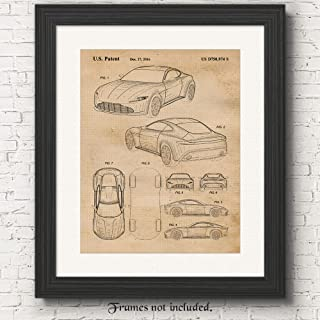 Original Aston Martin DB10 Patent Poster Prints, Set of 1 (11x14) Unframed Photo, Great Wall Art Decor Gifts Under 15 for Home, Office, Man Cave, College Student, Teacher, England Cars & Coffee Fan