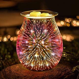 JUMKEET Brûleur à huile en verre électrique à cire fondue, brûleur à huile essentielle, brûleur de parfum pour la maison, ...