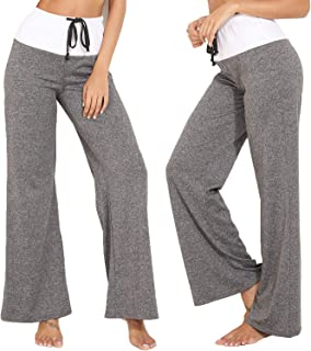KIWI RATA 2019 Fashion Women's Elastic High Waist Yoga Drawstring Pants Straight-Leg Workout Trousers Loose Fit