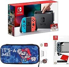 Nintendo Switch Pack: Consola Azul/Rojo Neón + Funda de transporte edición Mario + Protector de pantalla (Edición Exclusiv...