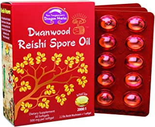 Dragon Herbs Duanwood Reishi Spore Oil -- 500 mg - 30 Softgels - 100% All Natural, Non-GMO, Vegan, Vegetarian, Superfood, Mushroom, Pure Premium Extract