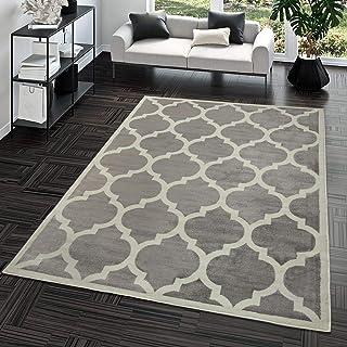 TT Home Alfombra De Salón Moderna De Pelo Corto Diseño Marroquí para Interior En Gris, Größe:120x170 cm