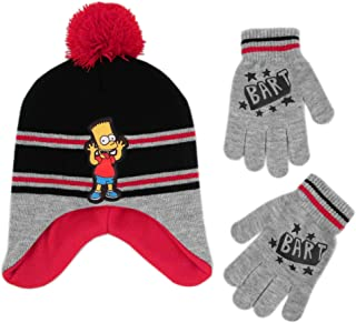 The Simpsons Boys' Little Bart Hat and Gloves Cold Weather Set, grey/black/red, Age 4-7