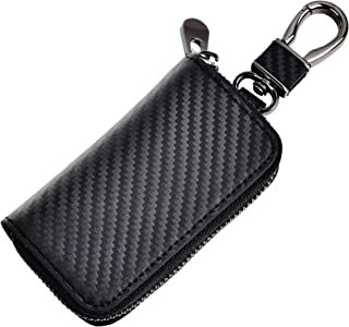 kinzd Car Key Wallet Case Leather Car Key Chain Coin Holder Zipper Key Case (Black)