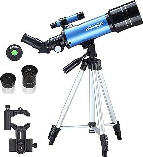 Aomekie Telescopio Niños Telescopio Astronomico 70/400 con Adaptador de Teléfono Trípode Ajustable Ffiltro Lunar para Obse...