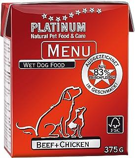 プラチナム ナチュラル ドッグフード : ビーフ+チキン 無水調理ウェットフード (グレインフリー、グルテンフリー ) (375g x 1パック)