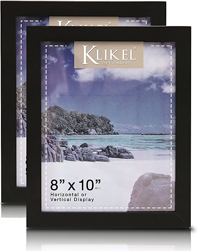 Klikel Black Picture Frame Set Of 2 8x10 Black Wooden Photo Frame For Family Graduation Grandpa Picture Frames Wall Hanging And Table Standing