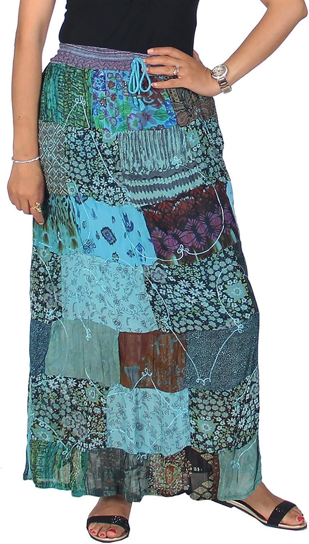 KayJayStyles Women's Hippie Bohemian Gypsy Vintage Ethnic Patchwork Cotton Long Skirt