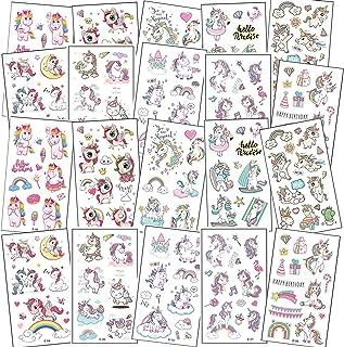 20 vel tattoo kinderen, kind tatoeages eenhoorn tattoo stickers, tijdelijke tatoeages huidvriendelijk voor meisjes,jongen...