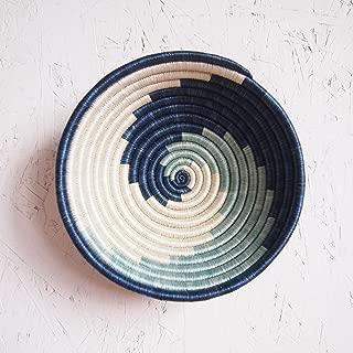Small African Basket- Rususa/Rwanda Basket/Woven Bowl/Sisal & Sweetgrass Basket/Blues, White