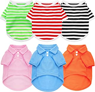 6 Pieces Pet Elastic Shirts Cotton Polo Dog Shirt Breathable Striped Pet Apparel Colorful Puppy Sweatshirt Dog Clothes for Small to Medium Dogs Puppy