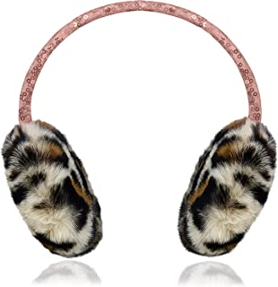 Sparkling Sequined Cold Weather Outerwear Earmuffs with Soft Fuzzy Faux Leopard Print Fur