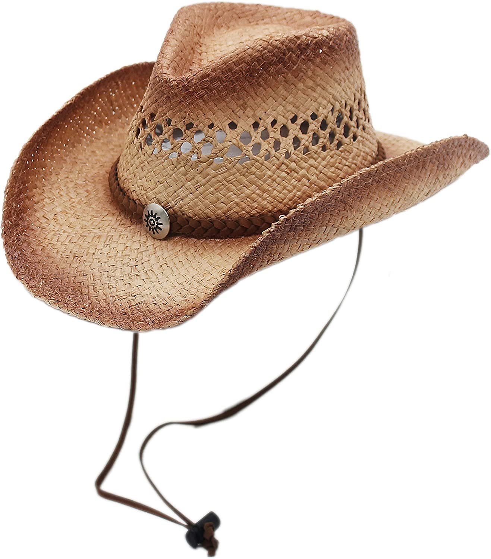 Raffia Straw Cowboy Western New popularity Sun Hat Ranking TOP2 Silver Canyon Strap Chin