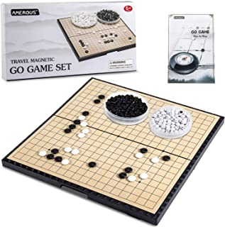 AMEROUS 11 Inches Magnetic Go Game Set (19 x 19), Travel Foldable Board Game Set with Magnetic Plastic Stones & Go Game Ru...