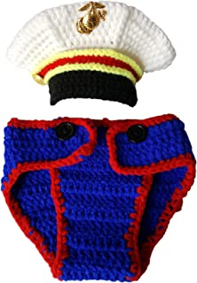 USMC Marines Newborn Baby Photography Props,Crochet USMC Navy Sailor Boy Uniform Costume Photo...
