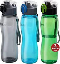 Milton Kids Water Bottle 3 Pack Triton 25 Oz Large Sports Water Bottle for Men, Women, Kid Wide Mouth Water Bottle with Strap Carry Handle for Bike Gym Running Cycling Multi Color