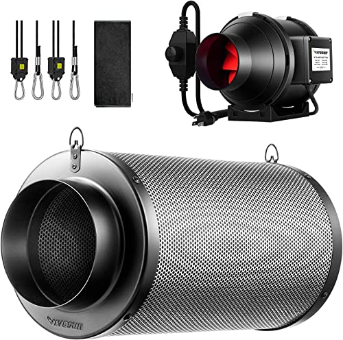 VIVOSUN 4 Inch Inline Fan, 4 Inch Air Carbon Filter