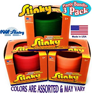 Poof Slinky Original Plastic Slinky Gift Set Party Bundle - 3 Pack (Assorted Colors)