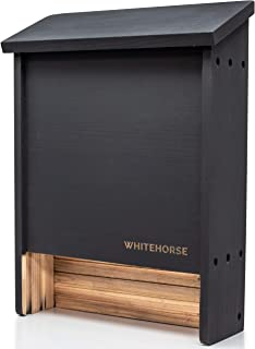 WHITEHORSE Bat House (2 Chamber) - A Premium Bat Box That Holds up to 75 Bats - 100% Western Red Cedar Wood - Built to Last Decades Outdoors (Black)