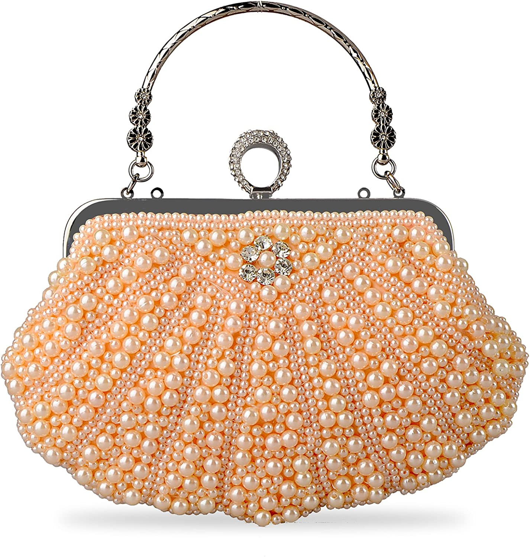Baglamor Women's Pearl Crystal Bag Wedding Party Clutch Handbag Luxury Purses