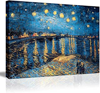 Starry Night Over The Rhone-Famous Oil Painting Artworks by Van Gogh Reproduction Poetry Giclee Canvas Prints Elegant Blue Wall Art Painting Decorative Gallery Wrapped Framed Wall Picture-32×24