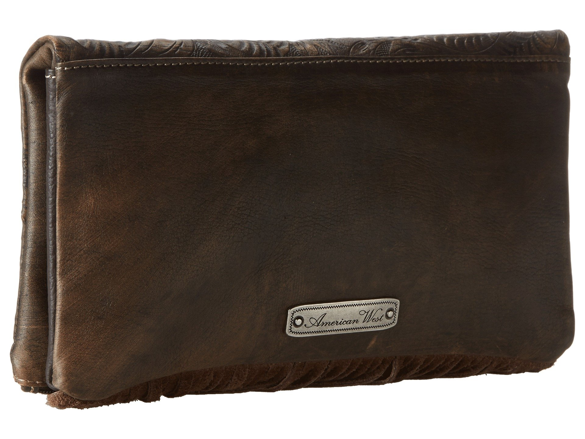 Brown Rockabilly Charcoal Clutch American West Distressed Folded Yqx085