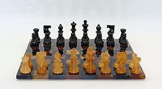 Basic Alabaster Chess Set in Black / Brown