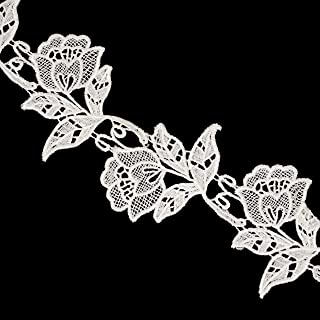 Honbay 2 Yards Rose Flower Embroidered Lace Trim Ribbons for Sewing or Craft Decoration (White)
