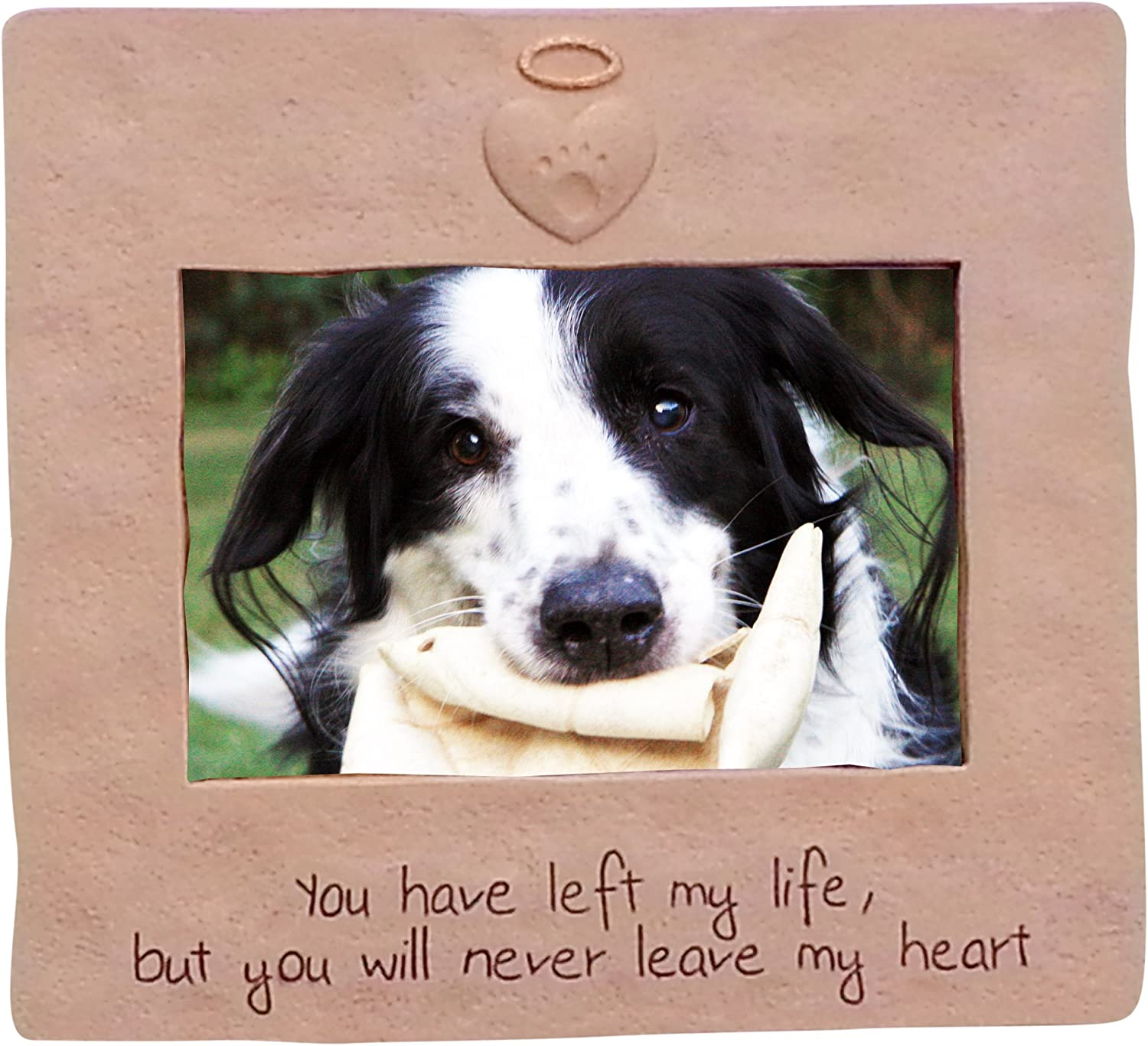 Never Leave My Heart Dog Memorial Photo Frame for 4 x 6 Inch Photo
