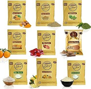 Online Quality Store Combo of Multani Mitti Powder,Kasturi Turmeric Powder,Orange Powder, Neem Powder, Chandan Powder,Rose...