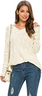 ZHENWEI Women's V Neck Long Sleeve Loose Knit Pullover Sweater Jumper Tops
