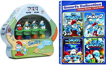Game fun Little Blue Smurfs 4 Pack Kids Movie Feature + Pez Tin Candy Collectible Family Movie Bundle Legend Smurfy Hollow / Christmas Carol / Part 1 & 2