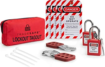 TRADESAFE Lockout TAGOUT KIT with Hasps, Loto Tags, Red Safety Padlocks | OSHA Compliance for Electrical Lock Out Tag Out Kits, Locks, and Loto Lock Set