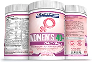 Women's Over 40 Daily Pack Vitamins Minerals, 42 Fruits and Vegetables, Digestive Enzymes, Spirulina, Wheat Grass, Fish Oil, Probiotics, Green Tea, Echinacea, Fiber, Kelp, Resveratrol, Wild Yam Plus!