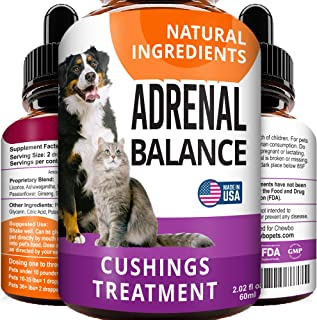Adrenal Balance for Dogs and Cats - Cushings Treatment for Pets, Adrenal Support w/Ashwagandha, Licorice Root, Rhodiola Ro...