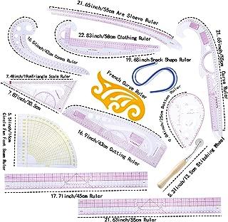 BUTUZE Practical Fashion Ruler Set -12 Style Fashion Pattern Design Ruler- Sewing Pattern Making Tools with Stitching Wheel Tool for Designing Patterns