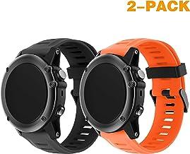 TOPsic Garmin Fenix 3 correa de reloj, Banda Reemplazo de Silicona Suave Deportiva con Herramientas para Garmin Fenix 3 / reloj elegante de Fenix 3 HR Multi-colors (negro + naranja)