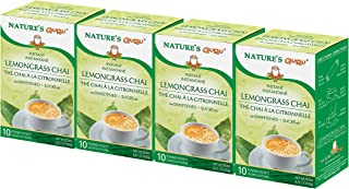 Nature's Guru Instant Lemongrass Chai Tea Drink Mix, Sweetened, 10 Count Single Serve On-the-Go Drink Packets (Pack of 4)