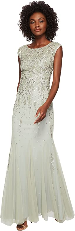 Adrianna Papell Cap Sleeve Beaded Gown At 6pmcom