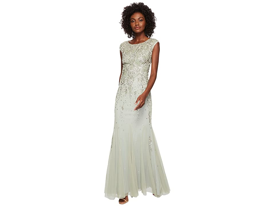 Adrianna Papell Cap Sleeve Fully Beaded Mob Gown (Mint) Women