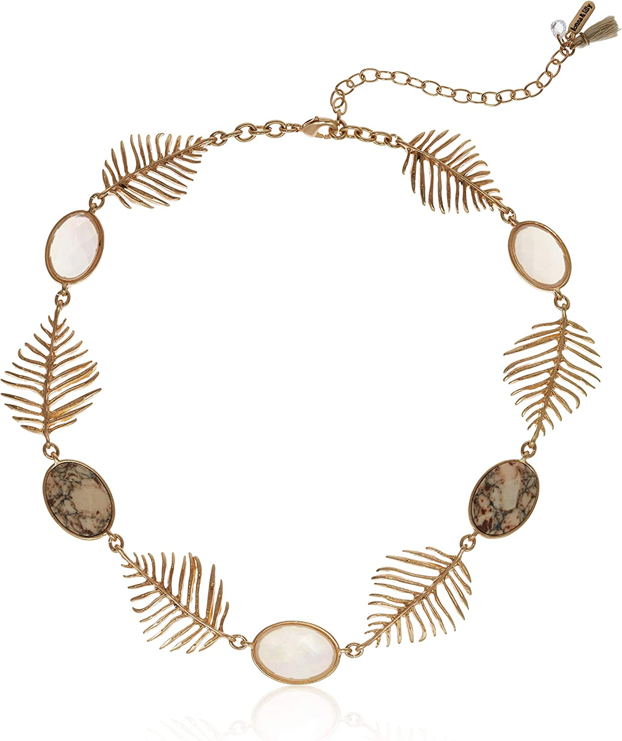 Lonna & Lilly Women's Gold Tone Neutral Leaf Collar Necklace, One Size